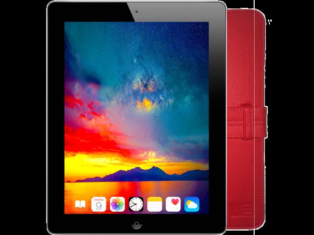 "Refurbished: Apple iPad (4th Gen) 9.7"" Tablet with Retina Display - 16GB eMMC 1GB RAM Wi-Fi (Black) - Includes Red Folio Case - OEM"