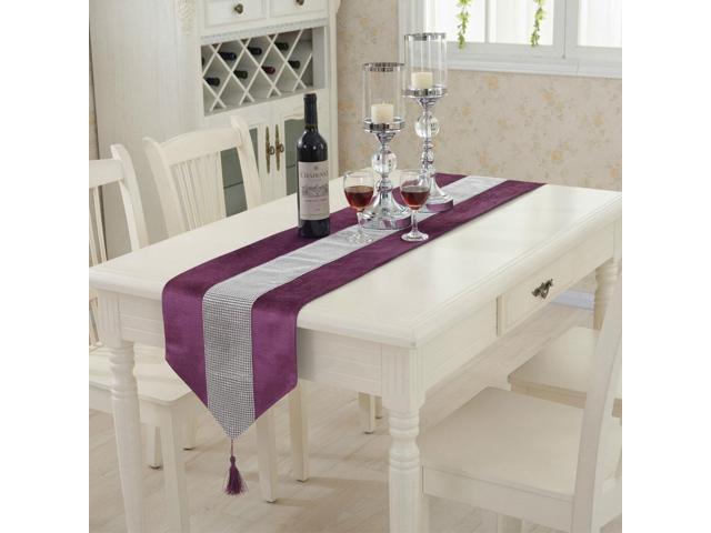 Sparkle Luxury Diamante Table Runner Velvet Wedding Ornament 32 x 250cm Purple