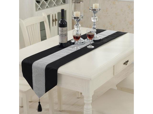 Sparkle Luxury Diamante Table Runner Velvet Wedding Party Ornament 32 x 250cm Black