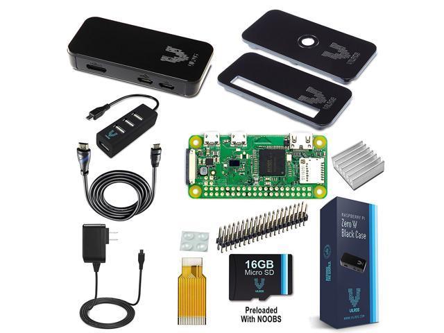 Vilros Raspberry Pi Zero W Complete Starter Kit-Premium Black Case Edition-Includes Pi Zero W and 7 Essential Accessories