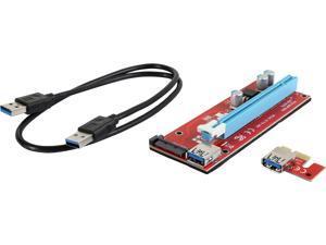 COBOC RISER-1X216X-SATA USB3.0 PCI-E PCI Express 1X to 16X Riser Cable Card Adapter w/ SATA 15pin Power Slot, 60CM USB 3.0 Cable Dedicated for BTC Bitcoin, LTC, ETH - Red