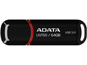 ADATA 64GB UV150 Snap-on Cap USB 3.0 Flash Drive (AUV150-64G-RBK)