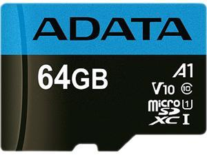 ADATA 64GB Premier microSDXC UHS-I / Class 10 V10 A1 Memory Card with SD Adapter, Speed Up to 100MB/s (AUSDX64GUICL10A1-RA1)