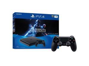 PlayStation 4 Slim 1TB Console Star Wars Battlefront II Bundle + Extra DualShock 4 Black Wireless Controller