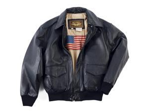 Landing Leathers Men's Air Force A-2 Leather Flight Bomber Jacket - Black