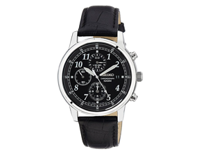 Seiko Chronograph Black Dial Black Leather Men's Watch
