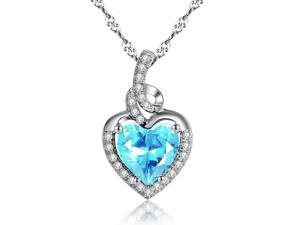 "Mabella 2.0cttw Heart Shaped 8mm x 8mm Created Aquamarine Pendant in Sterling Silver with 18"" Chain"