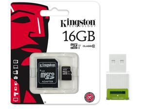 Kingston 16GB microSD 16G MicroSDHC Memory Card UHS-1 Class 10 C10 SDC10G2/16GB with USB 2.0 card reader