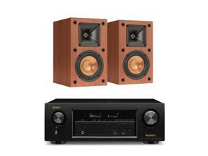 Denon AVR-X1300W 7.2 Channel 4K UHD Network A/V Receiver with Klipsch R-14M Reference Monitor Speakers (Cherry)
