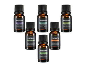 Aromatherapy Essential Oil Set, 6 Bottles 10ml/.33fl oz Each (Orange,Lavender, Tea Tree, Lemongrass, Eucalyptus and Peppermint)