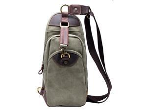 Gootium 21105AMG Full Grain Leather Canvas Sling Bag Vintage Cross Body Chest Pack For Ipad Air - Army Green