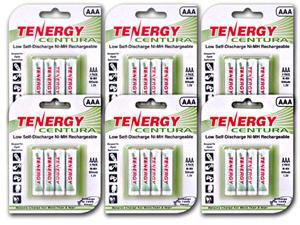 Tenergy Centura AAA 800mAh Low Self-Discharge (LSD) NiMH Rechargeable Batteries, 6 cards 24 pieces