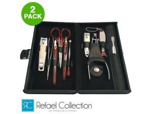Refael Collection Deluxe 10-Piece Manicure Set with Carrying Case 2-Pack
