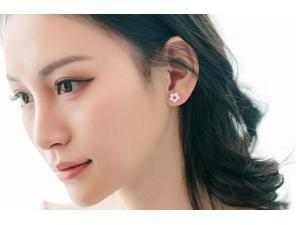 Korean and Japanese S925 Silver Women Fashion Cherry Blossom Shaped Stud Earring for Girlfriend(Purple)