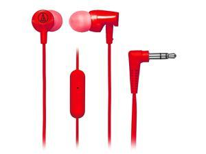 Audio-Technica In-Ear Headphones with In-line Mic & Control (Red) - ATH-CLR100ISR (Import Model)