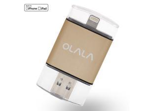 OLALA 64GB iDisk iPhone USB 3.0 Flash Drive External Storage Expansion Mobile Memory with Lightning Connector for iPhone 6s/6 Plus iPad and USB 3.0 for Computers and PCs (Golden)