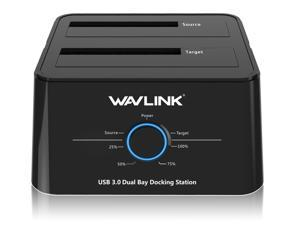 "Wavlink USB 3.0 to SATA Dual Bay Hard drive Docking Station for 2.5"" 3.5"" SATA HDD/SSD Storage Dock 2x8TB Hard Drive Enclosure, 5Gbps Data Transfer, UASP, Offline Clone/Duplicator & One Button Backup"
