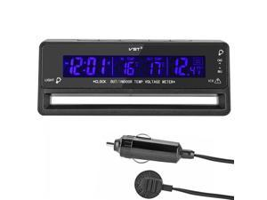 iKKEGOL 12V LCD Digital Car Voltage Monitor Battery Alarm Clock Temperature Thermometer