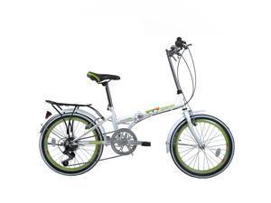 "FLYING-PIGEON Folding bike Shimano Derailleur 20"" Wheel High carbon steel frame Specialized saddle bottom for Express setup Safe and Comfortable - Green"
