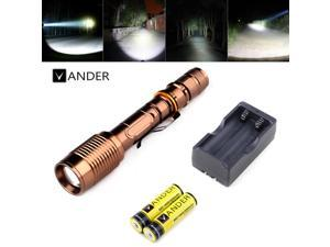 Vander 5000 Lumen 5 Modes XML T6 LED 6000mAh Torch Light 18650 Battery &Charger