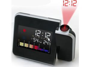 Foxnovo Battery Powered 180 Degrees Rotating Projection Alarm Clock with Snooze / LED Backlight / Date / Temperature / Humidness (Black)