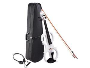 4/4 Electric Violin Full Size Wood Silent Fiddle Bow Headphone Case White