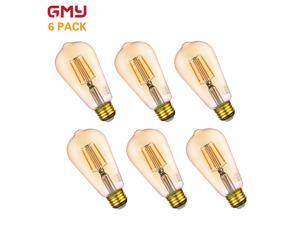 Vintage LED Edison Bulb 4.5W - Dimmable ST19 Antique Amber LED Light Bulb Vertical Filament - 40W Equivalent E26 2200K Amber Glass Warm White (6 PACK)