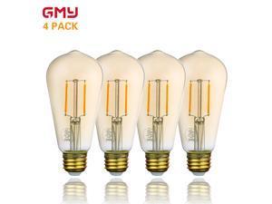 Vintage LED Edison Bulb Dimmable - Amber LED Light Bulb ST21 2.5W - 120V 2200K Amber Glass Warm White E26 (4 PACK)