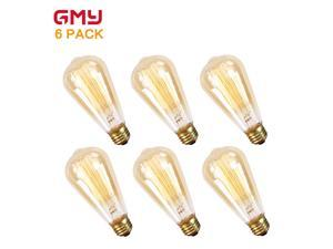 Vintage Edison Bulb 60W - Dimmable Incandescent Light Bulb ST64 Squirrel Cage Style - E26 2200K Warm White Amber Glass from GMY Lighting (6 PACK)
