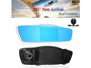 HD 1080P 5'' Dual Lens Car DVR Rear View Mirror Dash Cam Video Camera Recorder