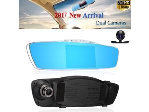 HD 1080P 5'' Dual Lens Car DVR Rear View Mirror Dash Cam Video Camera Recorder