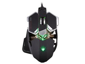 LUOM Wired Computer Gaming mice, 4000 DPI 10 Buttons LED Optical USB Wired Professional Gaming Mouse, Mechanical Game Mice Support Macro Programming