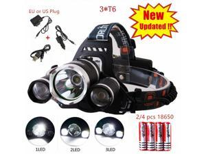 IN US STOCK Rechargeable 4 Modes Headlamp High Power CREE XM-L 3*T6 LED Head Light  for Hiking Hunting Camping Fishing Climbing Bicycle Riding