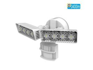 SANSI LED Security Light, 30W, 250W  Equivalent, 3400lm, 5000K Daylight, Weather-proof, Motion Sensor Outdoor Light, Floodlight, Wall Light, Ceramic Heat Dissipation, Rectangular, White
