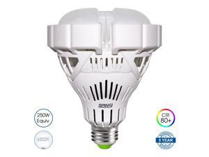 SANSI LED BR30 250W Equivalent Light Bulb, 30W, 6500K Cool White, 3000lm, Non-Dimmable, E26 Medium  Base, 125 Degree Beam Angle, Ceramic Body,  Garage Factory, Warehouse, Barn, Sport Hall Lighting