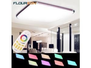 Floureon 48W RGB LED Ceiling Light 29 inch LED Flush Mount Lighting with Wireless Remote Control - Rose Red