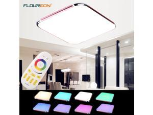 Floureon 36W RGB LED Ceiling Light 29inch LED Flush Mount Lighting with Wireless Remote Control - Rose Red