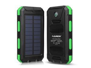 Floureon Solar Power Bank 10000mAh External Backup Battery Pack Dual USB with 2 LED Light