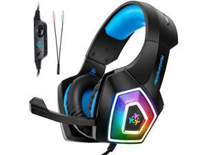 V1 Gaming Headset Over Ear Headphones, Bass Noise Cancelling Earphones with LED Light for PS4 Xbox One, PC, Blue