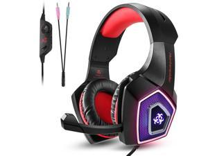 V1 Gaming Headset Over Ear Headphones, Bass Noise Cancelling Earphones with LED Light for PS4 Xbox One, PC, Red