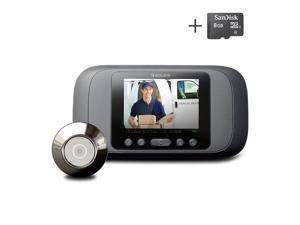 Eques Digital Door Viewer - LCD Security Camera Monitor Video Record Photo Shooting - FREE 8GB micro SD card included