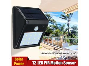 Five Star 12 LED Waterproof Solar Panel Powered PIR Motion Sensor Light Security Wall Light Lamp Outdoor Garden Fence Patio Lighting