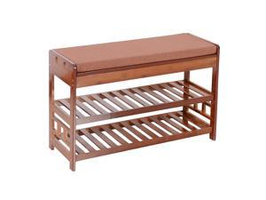Natural Bamboo Shoe Rack Bench Entryway Organizer Cozy Seat Storage with Cushion