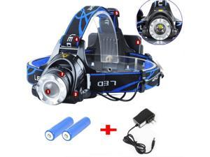 6000LM T6 LED Headlight Head Light Torch Lamp Zoomable + 2x Battery + Charger
