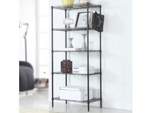 Heavy Duty 5 Layer Wire Shelving Rack Adjustable Shelf Storage Black