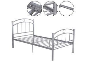 """74.8"""" x 39.4"""" Sliver Metal Solid Steel Bed Frame Platform Twin Size Bedroom Home"""