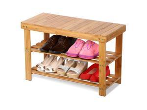 New Bamboo Rack Room Shoe Bench Organizers Seat Storage Closet Entryway 2-Tier