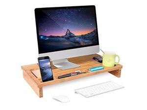 Wood Monitor Stand Riser with Storage Organizer Bamboo Desktop Laptop Desk TV
