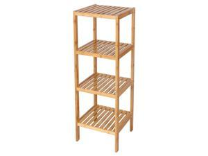 4 Tier Shelf Bamboo Corner Tower Rack Bathroom Storage Space Saver Bookcase