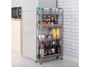 Rolling 4 Layer Shelf Slim Can Spice Rack Holder Cart Kitchen Bath Storage Tower